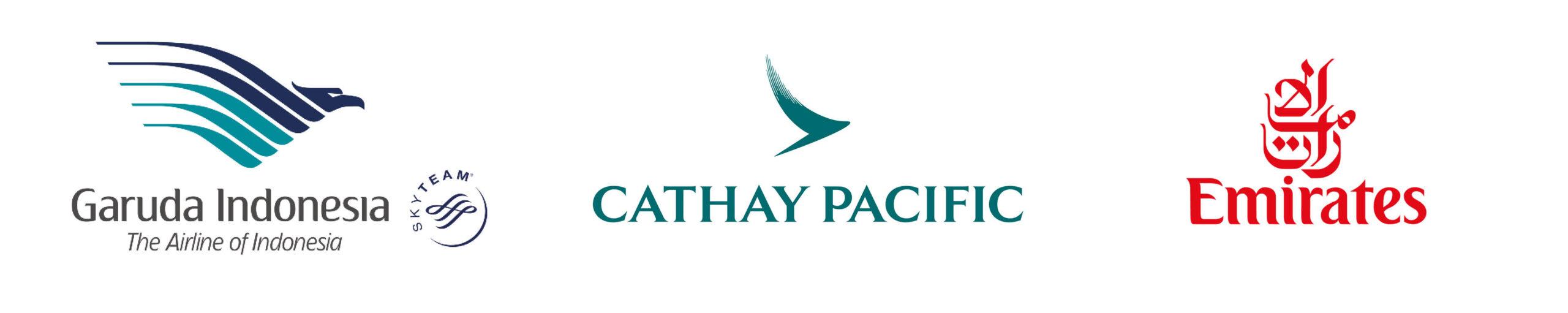 Logo's van de vliegtuigmaatschappijen Garuda, Cathay Pacific en Emirates